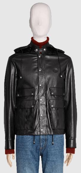 Gucci - Leather Jackets - Veste en cuir avec GG for MEN online on Kate&You - 621456 XNAKN 1000 K&Y8384