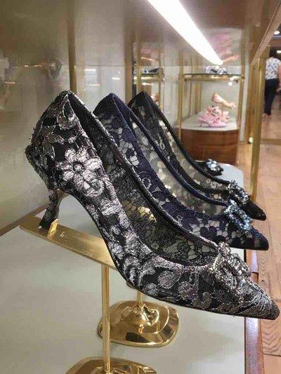 Dolce & Gabbana - Escarpins pour FEMME Escarpins en dentelle à logo DG Amore online sur Kate&You - K&Y1556