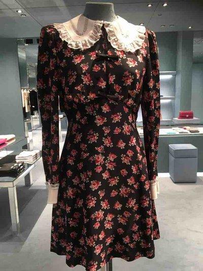 Miu Miu Short dresses Robe en marocain avec imprimé rose Kate&You-ID1488