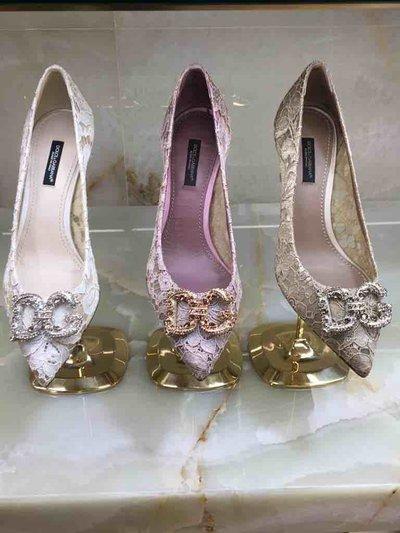 Dolce & Gabbana Pumps Escarpins en dentelle à logo DG amore Kate&You-ID1555