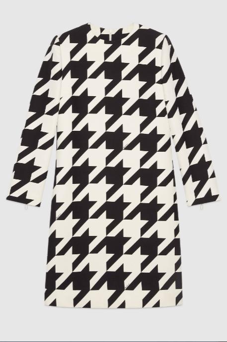 Gucci Short dresses Robe courte en soie et laine à imprimé pied-de-pou Kate&You-ID8634