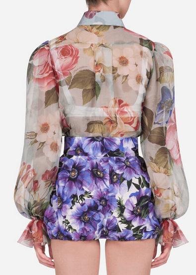 Dolce & Gabbana - Camicie per DONNA Chemisier en organza avec imprimé fleuri online su Kate&You - F5M42TIS1AUHC1AM K&Y8520