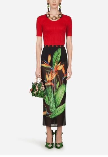 Dolce & Gabbana - Pulls pour FEMME PULL CÔTELÉ EN SOIE À MANCHES COURTES online sur Kate&You - FX803TJASMHR2254 K&Y8582