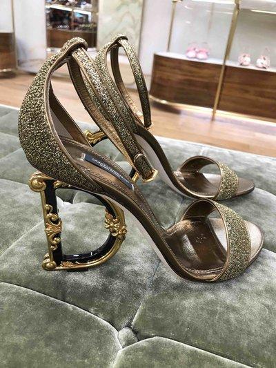 Dolce & Gabbana Pumps Sandales Bette en lurex avec talon sculpté DG Baro Kate&You-ID1524