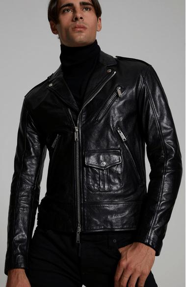Dsquared2 - Vestes en Cuir pour HOMME Leather Biker Jacket online sur Kate&You - S74AM0956SY1354900 K&Y8898