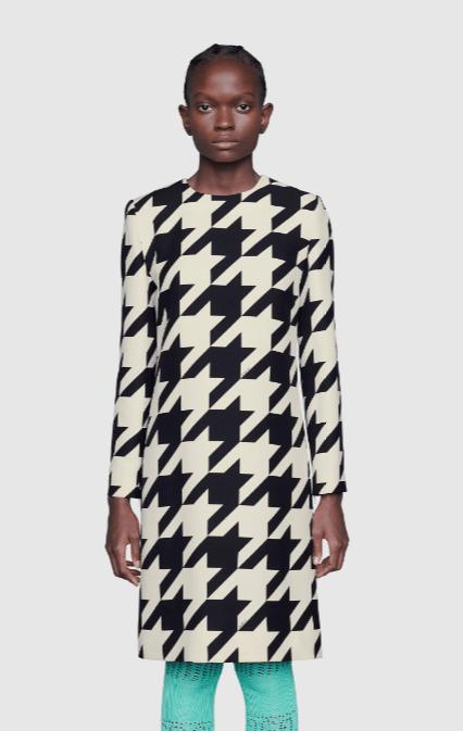 Gucci - Robes Courtes pour FEMME Robe courte en soie et laine à imprimé pied-de-pou online sur Kate&You - 627421 ZAEXB 1036 K&Y8634