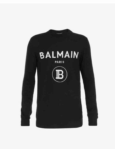 Balmain - Pulls pour HOMME Maille noir et blanc avec logo online sur Kate&You - SH03964 K108 K&Y1725