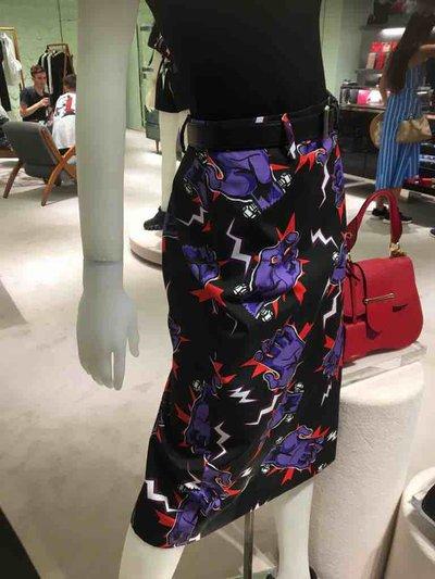 Prada 3_4 length skirts Jupe en popeline avec imprimé Hand Kate&You-ID1496