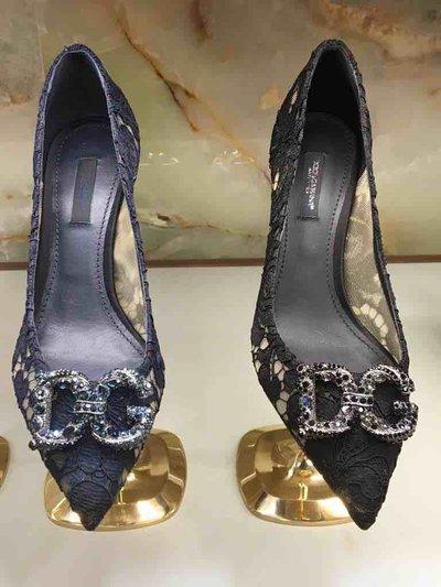 Dolce & Gabbana Pumps Escarpins en dentelle à logo DG Amore Kate&You-ID1556