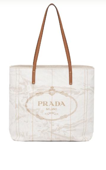 Prada Tote Bags Petit cabas en cuir et lin mélangé Kate&You-ID8402